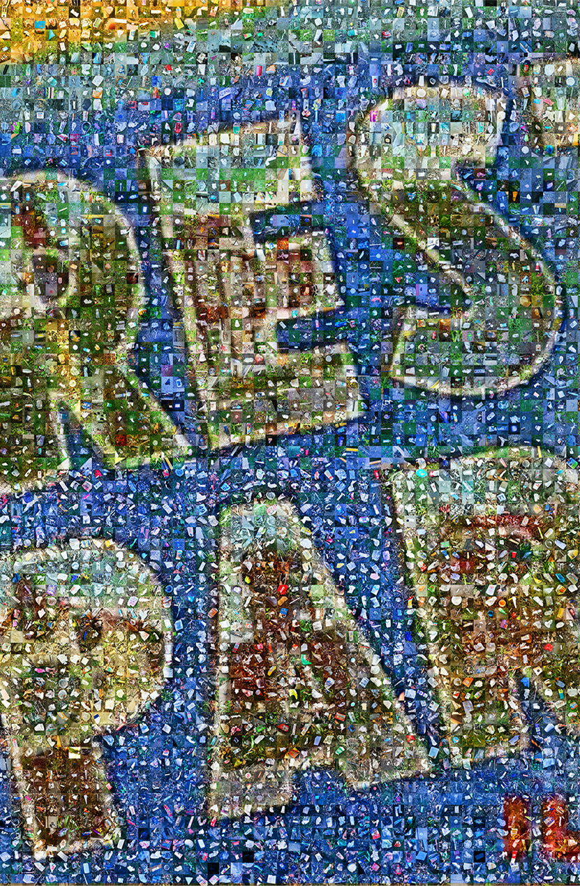 Section of the 6K image mosaic that conformed the traveling exhibit of the Science, Art and Trash project in 2019.  Aguilera and @sciartrash participants