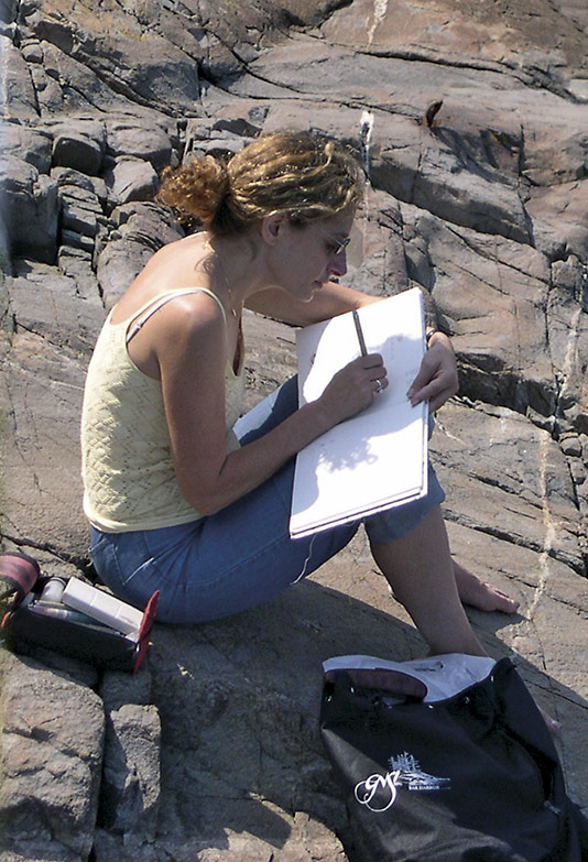 Gretchen Halpert sketching in Maine