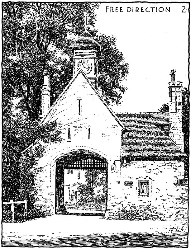 Guptill excelled in architectural rendering. In this example, from drawing with pen and ink, 1928, he shows his free line rendering technique.