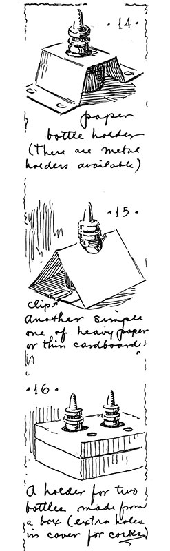 Guptill used series of vignettes in the wide margins of his books to illustrate a variety of basic subjects such as materials and tools, pen strokes, composition elements, and light sources. Instructive comments were hand-lettered, giving the page margin a look of informal classroom immediacy. These margin sketches are from drawing with pen and ink, 1928.