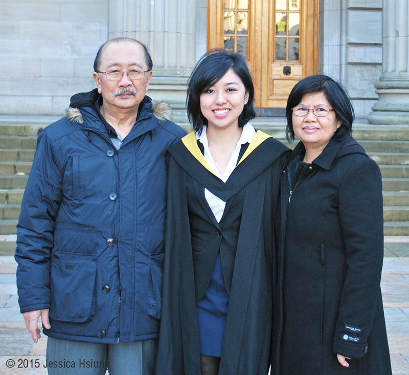 Jessica and family attending her Masters graduation at University of Dundee in November 2015
