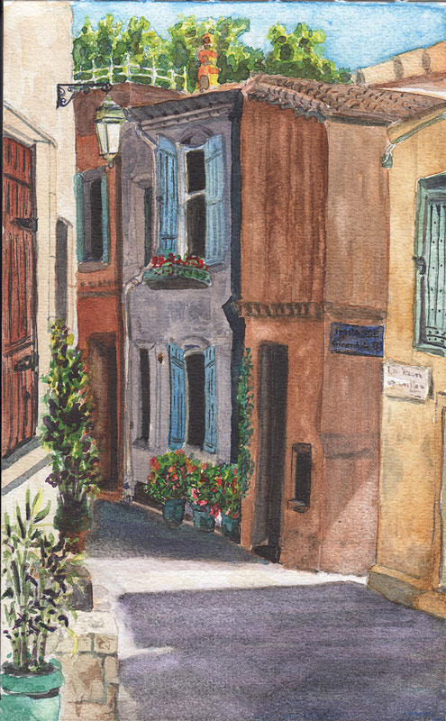 sketchbook entry:  Arles Street; watercolor; © 2013 Kristine A. Kirkeby