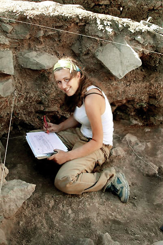 Drawing archaeological excavation profiles in Chavin de Huantar, Peru