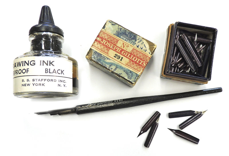 Pen and ink tools probably used by Sydney Prentice. Photo by Mary Parrish.